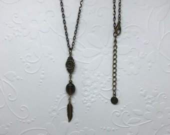 Antique Brass Feather Charm Necklace/Smokey Quartz Oval Bead/Floral Connector
