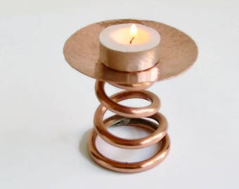 Copper Spiral Candle Holder, Copper Candle Holder, Copper Incense Holder, Copper Dish, Ring Dish, Trinket Dish.