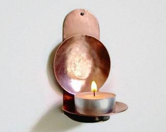 Sconce Candle Holder, Copper Candle Holder, Copper Reflector, Candle Reflector, Wall Candle Holder, Hand Beaten Copper, Zen Incense Burner