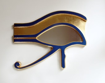 Decorative Wall Mirror, Reclaimed Mirror, Evil Eye Mirror, Wall Mirror, Egyptian Mirror, Blue Mirror, Eye of Horus, Gold Mirror, Blue Gold