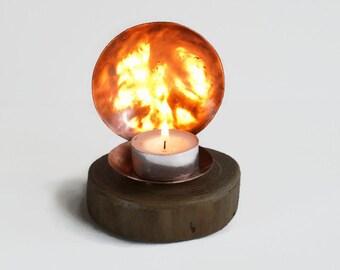 Copper candle holder - Driftwood candle holder - Rustic candle holder - Reflector - Driftwood tealight - Rustic decor