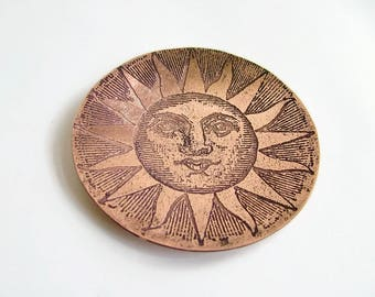 "4"" Dia. Copper Sun Bowl, Copper Sun Catch All, Etched Copper Bowl, Candle Holder, Desk Tidy,  Trinket Dish, Ring Dish, Handmade Copper Bowl"