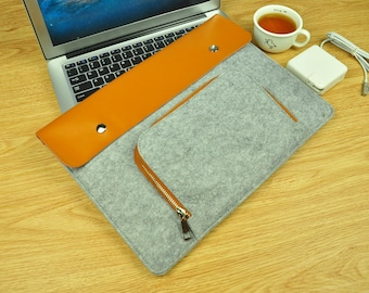 2016 New 13 Inch MacBook Pro Sleeve, 13 Inch MacBook Pro Case with Touch bar, leather, felt -TFL122