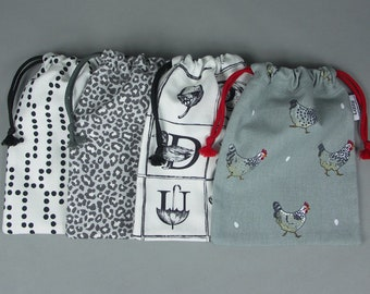 Mini drawstring bags - made with a cotton fabric in various designs