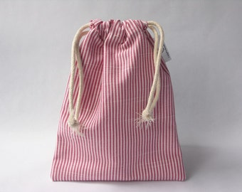 Mini drawstring bag - made with a raspberry and white striped cotton fabric