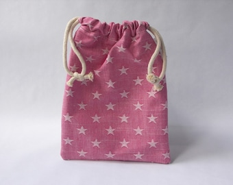 Mini drawstring bag - made with a raspberry and white star cotton fabric
