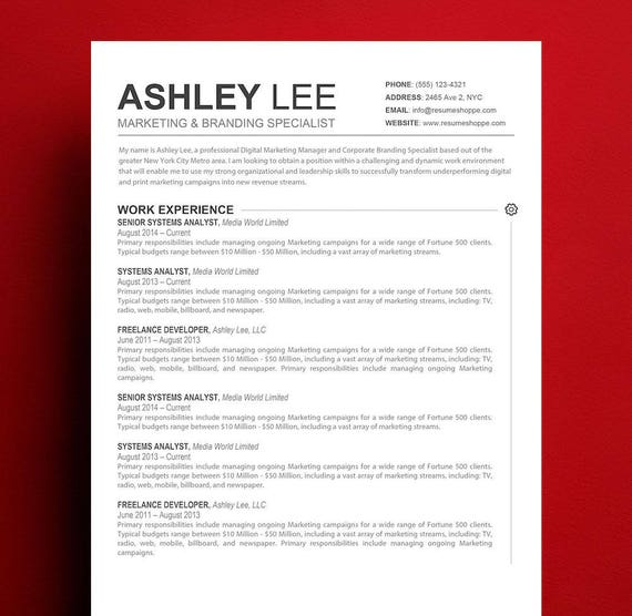 Resume Template Mac Apple Pages Ready Etsy