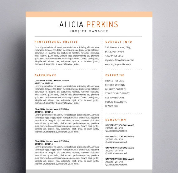 Resume Template For Mac Apple Pages U0026 Word For Mac Ready | Etsy
