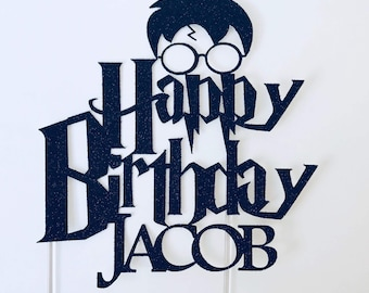 Harry Potter Personalised Name Glitter Card Cake Topper Black Happy Birthday
