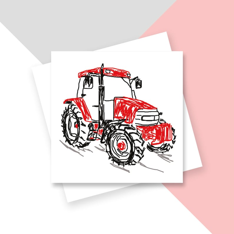 Red Tractor Greetings Card  Blank Inside  Plastic Free image 0