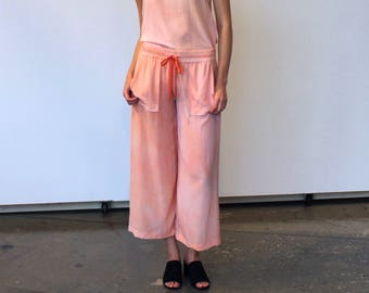 Wide leg cropped silk pants