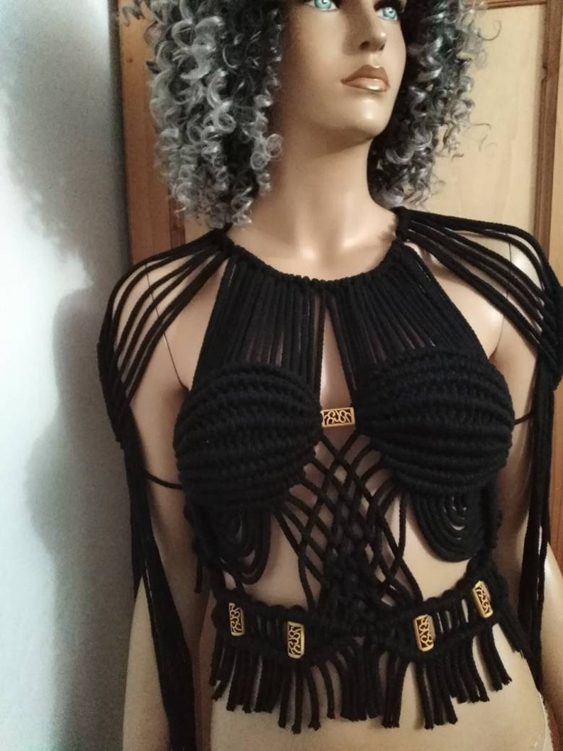 Boho Chic Clothing Fringe Top Crochet Crop Top Beach Cover Up Festival Clothing Top with epaulets Express Shipping