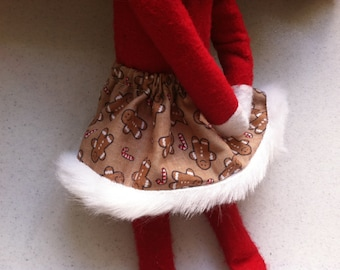 Christmas Shelf Clothes Brown Skirt with Gingerbread Men & Candy Canes for ELF PIXIE Lace on Hem NEW