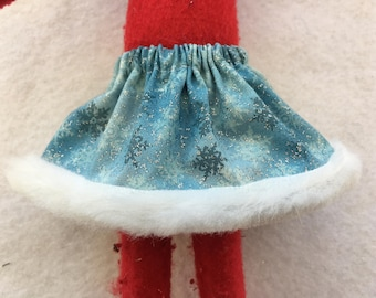 Christmas Shelf Clothes Blue Glitter Snowflake Skirt for Girl 12 inch Elf or Pixie