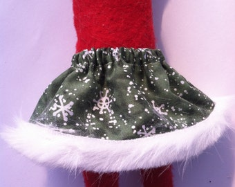 Christmas Shelf Clothes Green Skirt with Snowflakes and Fur Trim for Girl Elf or Pixie