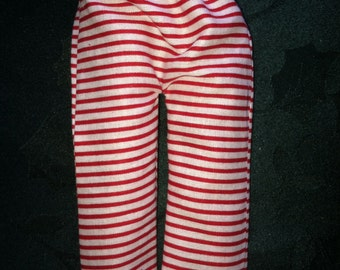 Red and White Stripe Pants by Christmas Shelf Clothes for Boy Or Girl Elf or Pixie