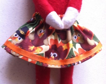 Thanksgiving Turkey Orange Yellow Green Elf Skirt by Christmas Shelf Clothes for Girl Elf or Pixie
