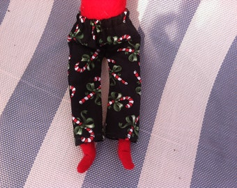 Christmas Elf Pants Black with Red & White Candy Canes by Christmas Shelf Clothes for 12 Inch Elf or Pixie New