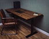 Russell Oak Steel - 5ft Cassar Black Height Adjustable Office Desk