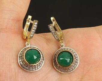 Solid sterling silver emerald earrings