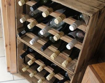 Handmade Wooden Vintage Apple Crate 15 Bottle Wine Rack; Unique rustic item, natural finish