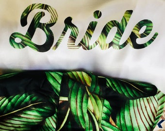Matching tropical wedding robes, destination wedding, beach wedding, bridesmaid robes, bridal robe, bride robe, wedding day photo, palm