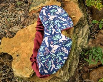 unicorn sleep mask silk blindfold, blue cotton sleeping mask travel accessory her, blue sleep mask, silk eye mask stress relief gift, soft