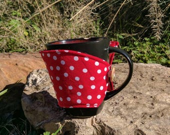 Red cup sleeve Coffee mug cozy, polka dot tea cup cozy, red and white cup sleeve coffee cozy, red Cotton cup wrap handmade coffee lover gift