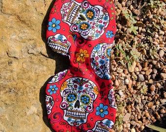 Red Sleep mask, Satin sleeping mask, day of the dead, sugar skull eye mask, dia de los muertos, gift for traveler, Cotton Sleep Mask, Texas