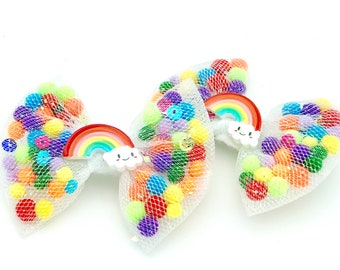 Rainbow Pigtails Bows for Girls, Pigtail Hair Clips for Girls, Pigtail Hair Bows, Set of Two Bows, Pigtail Bow Set, Pom Pim Pigtails, Bows