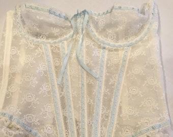 5c781a86999b0 Vintage 1980s Darling Body Fashion lace bustier white lace blue ribbon  longline bra underwire bra corset wedding lingerie size 32-34