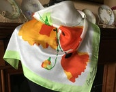 Vintage 1980s silk scarf designer Bill Blass tulips poppies spring scarf chartreuse red orange flowers 23 x 23 neck scarf head band