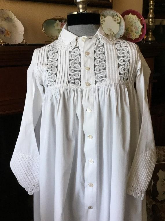 1880s-90s antique cotton night dress white nightgo