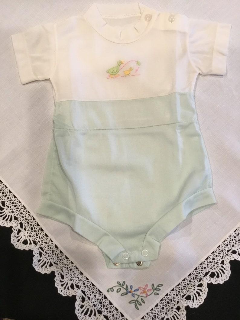 Vintage 1970s baby boy onesie summer onesie bodysuit one-piece nylon suit size 3-6 months