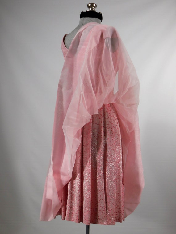 brocade pink dress size Vintage prom small Xsm chiffon dress party satin Easter special 1960s dress occasion 8Az7wF