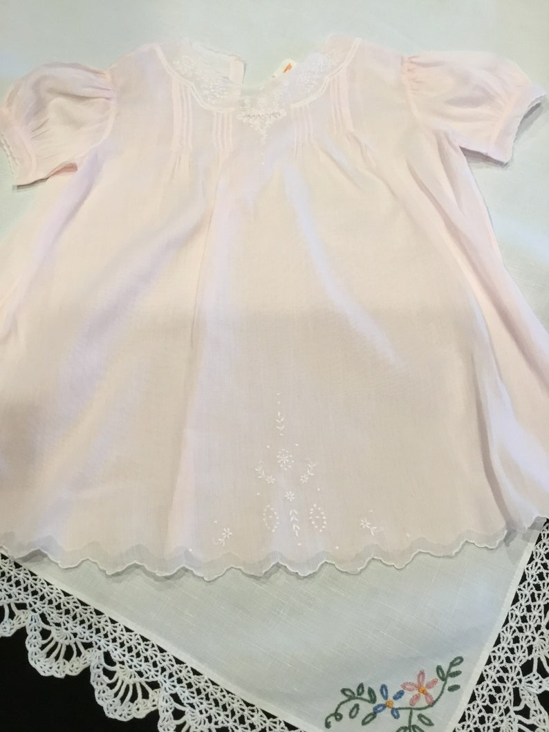 b9c30b376df Beautiful 1940s 50s Eastern Isles baby dress pink sheer cotton