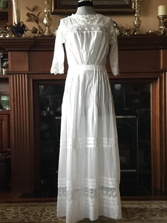 1910s Lawn Wedding Dress*White Lawn Day Dress* Edw