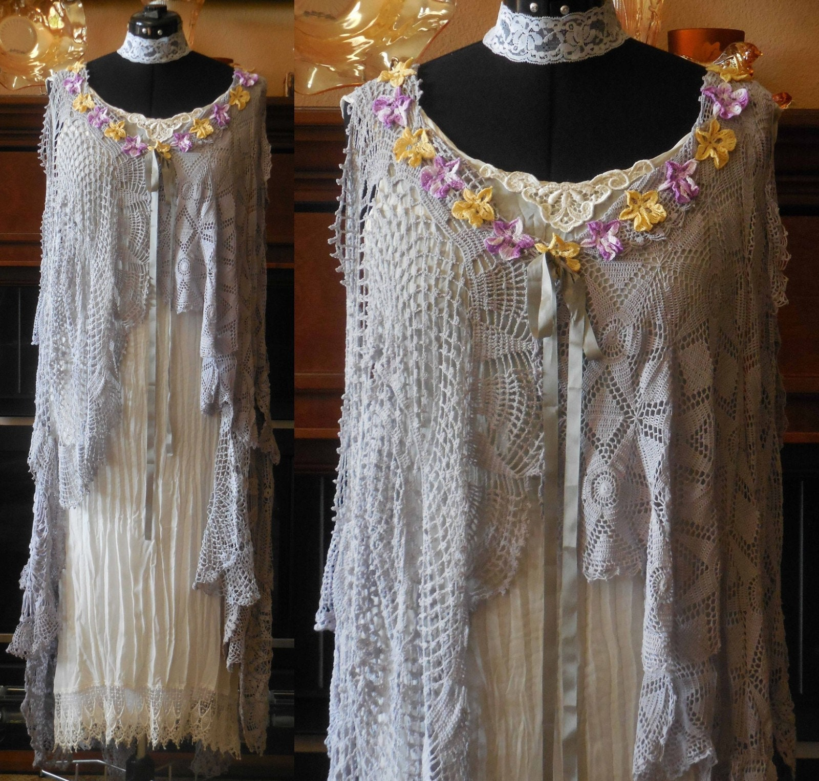 Vintage Aprons, Retro Aprons, Old Fashioned Aprons & Patterns Handmade Crocheted Victorian Lace Tunic Doily Top Dress Garden Wedding Romantic Duster Grey Size MedLarge $224.90 AT vintagedancer.com