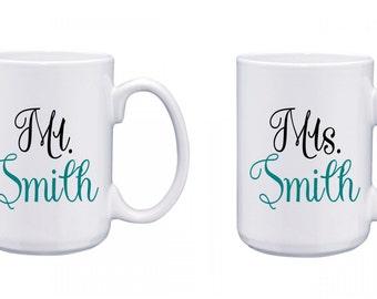 Mr. and Mrs. Coffee Mug     Love     Newlyweds   Wedding Gift   Mr and Mrs.