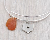 Bangle Bracelet with State of Ohio Charm and Brown Sea Glass