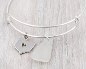 Bangle Bracelet with State of Ohio Charm and White Lake Erie Beach Glass