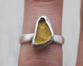 Rare Yellow Lake Erie Beach Glass Bezel-set Ring in Sterling Silver