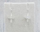 White Lake Erie Beach Glass Stick Earrings in Sterling Silver