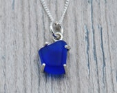 Cobalt Blue Maine Sea Glass Necklace in Sterling Silver