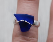 Cobalt Blue Maine Sea Glass Wire Wrapped Ring in Sterling Silver