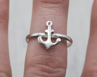 Tiny Anchor Ring in Sterling Silver