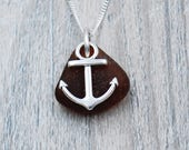 Brown Edgewater Beach Glass and Anchor Charm Necklace