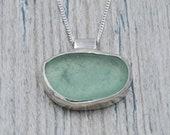 Bezel Set Seafoam Green Lake Erie Beach Glass Necklace in Sterling Silver