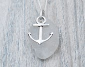 White Edgewater Beach Glass and Anchor Charm Necklace