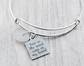 "Bangle Bracelet with ""Toes in the Sand, Wine in my Hand"" Charm and White Lake Erie Beach Glass"